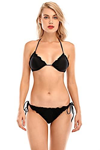 Voqeen Mujer Sexy Halter Conjunto De Bikini De Dos Piezas Trajes De Baño Top De Triángulo De Cuello En V De Volantes Y Fondo De Cuerda Ropa De Playa De Verano