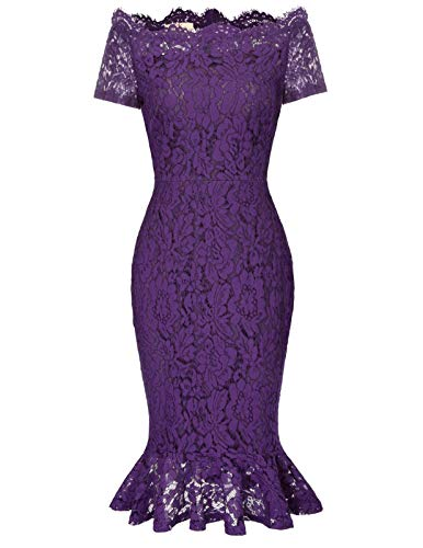 Women Full Lace Bodycon Cocktail Wedding Guest Dress XXL Purple