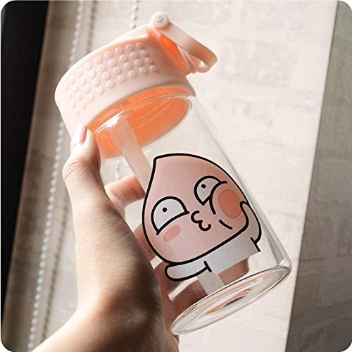 ppting 350ml/450ml Kobitos Glas Water Fles Met stro Leuke Cartoon Ontwerp De Lekvrije Draagbare Glas Water Fles Voor Meisjes