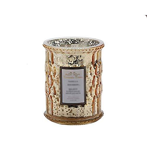 ZXJ Velas perfumadas, Plantas, Aceite Esencial, Cera de Soja Natural, Calma sin Humo, Vela de Vidrio de Cristal aromático para el día de San Valentín,Oro