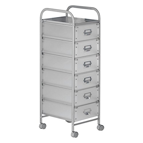 IDIMEX Rollcontainer Rollwagen ROLI mit 6 weiß/transparenten Schubladen und Metallgestell