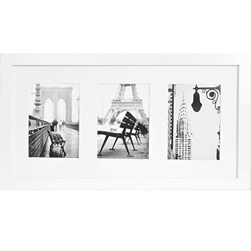 Muzilife 3er Bilderrahmen Galerie 25x51cm - Aufhängung Mehrfach Fotocollage 3 Ausschnitten für Bilder mit Passepartout 13x18cm (Weiß)