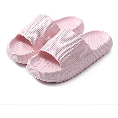 QAZW Almohadas para Hombres y Mujeres Masaje Baño Ducha Zapatos Antideslizantes Secado Rápido Suela Gruesa Zapatillas de Casa Súper Suaves Playa Piscina Gimnasio SPA Zapatilla,Pink-7/8