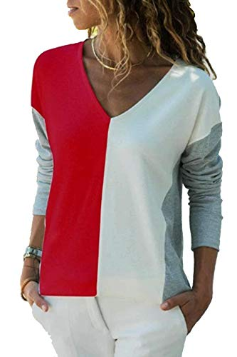 YOINS Camiseta de Manga Larga para Mujer Camisa Cuello V Blusa Sexy Moda Top Otoño Invierno Rojo-02 XXL