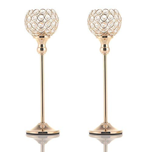 VINCIGANT Votive Candle Holders Pack of 2 for Modern Anniversary Celebration Wedding Coffee Table Decorative Centerpieces Gold