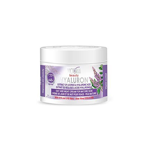 Victoria Beauty - Anti Aging Hyaluron Creme gegen Falten und Augenringe, straffende Gesichtscreme mit Süßholzextrakt und Hyaluronsäure für Frauen und Männer ab 60 (1 x 50 ml)
