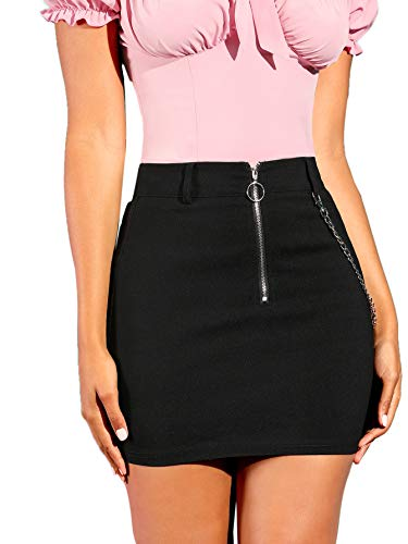 SheIn Women's O-Ring Zipper Front Casual Chain Patchwork Mini Pencil Bodycon Skirt Medium Black