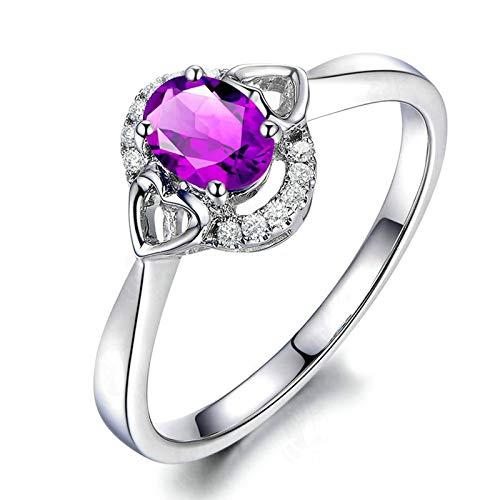 Bishilin Alianza de Plata Esterlina para el Ella Clásico Moderno Forma de Corazón Ovalado Púrpura Oval Cristal Piedra Natal de Febrero Anillos de Compromiso Llamativos para Mujer Plata Talla: 23,5