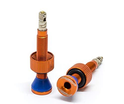 PMP - Coppia Valvole Tubeless MTB in Ergal CNC, di Tipo Presta, con Ghiera Maggiorata, Colorazione Anodizzata, Lunghezza 50 mm, solo 4 g di Peso (Arancione)