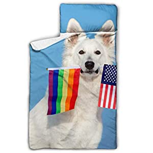 XUGGL Kids Sleeping Bag White Shepherd Dog Holding Rainbow American Nap Mat with Pillow for Toddler Boys and Girls,Classic Slumberbag Perfect Size for Day 7