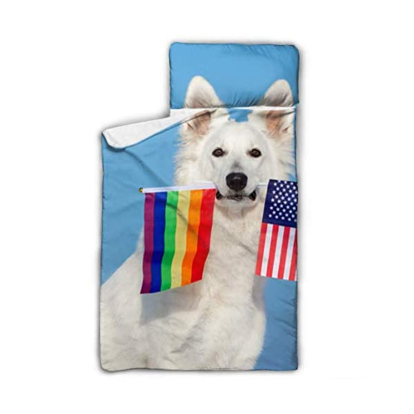 XUGGL Kids Sleeping Bag White Shepherd Dog Holding Rainbow American Nap Mat with Pillow for Toddler Boys and Girls,Classic Slumberbag Perfect Size for Day 1