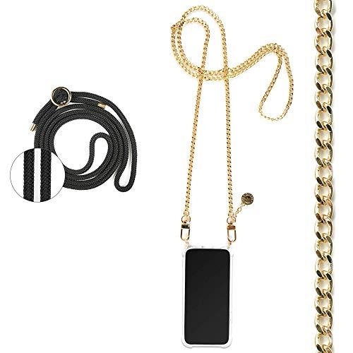 Jalouza Handykette, Kordel & Hülle Bundle kompatibel mit iPhone 12 Pro Max - Gliederkette in Gold und Kordel in Farbe Schwarz-Gold Plus Handyhülle zum umhängen
