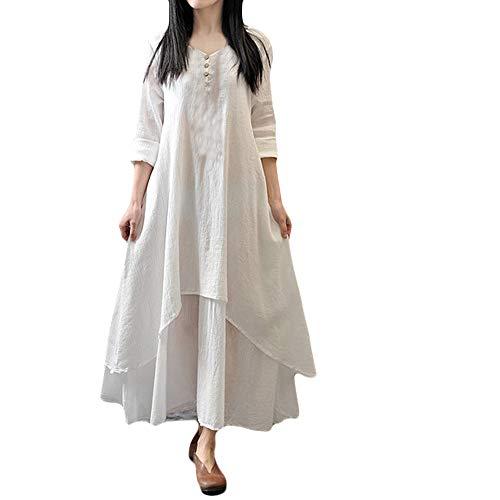 QIMANZI Damen Beiläufige Lose Kleid Langarm Baumwolle Boho Maxi Kleid(Weiß,DE-50/CN-5XL)