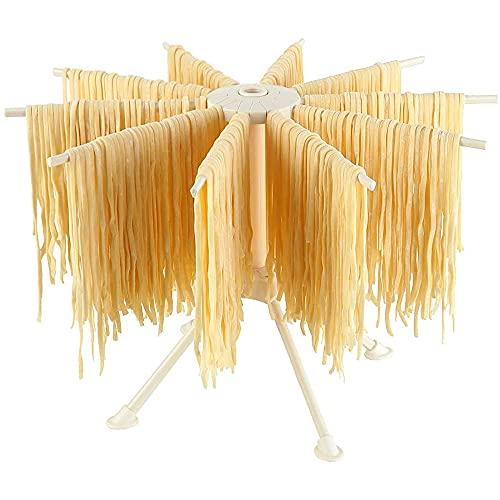 Bugucat Nudeltrockner, Pastatrockner Nudelständer mit 10 Ausziehbare Sprossen für bis zu 2kg Nudeln Tassen Handtücher, Integrierter Transportierstab,Faltbar-Spaghetti-Trockner, Pasta-Trockner