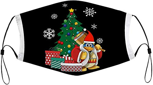 King Dedede Around The Christmas Tree Kirby Fashion Personalized dust mask, Printed mask, Full face mask, Sunscreen face Towel, 2 Replaceable Filter Element Masks, Reusable Masks.
