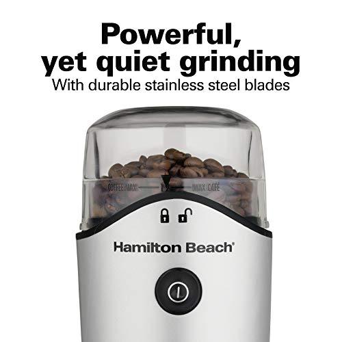 Hamilton Beach, Molinillo para frijoles, especias y más, cuchillas de acero inoxidable, cámara extraíble