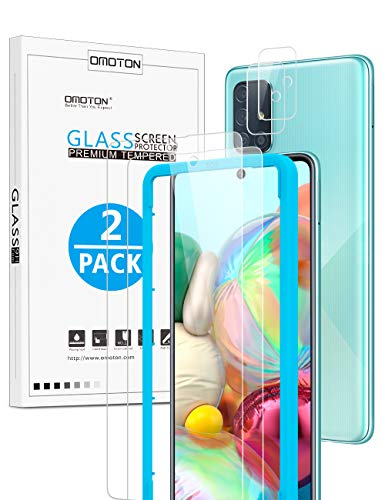 OMOTON Cristal Templado para Samsung Galaxy A71,Protector Pantalla para cámara Samsung Galaxy A71, [2 + 2 Piezas], [sin Burbujas], [dureza 9H], [HD Transparente][con Marco]
