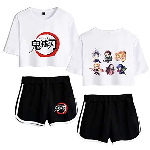 Kimetsu no Yaiba - Conjuntos de ropa deportiva para mujer Demon Slayer Anime Crop Tops y Bottoms Chándales de manga corta de verano Cosplay ropa de dormir conjuntos de pijama