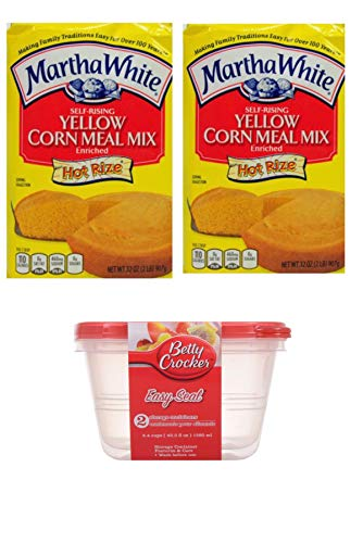 Self Rising Yellow CornMeal Mix Martha White Hot Rise 32oz (2lb) x 2 & 2 x 43.3 fl oz Plastic Containers