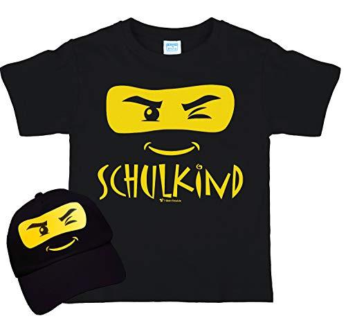 Kinder T-Shirt Schulkind ABC-Schütze inkl. Basecap schwarz (134/140)