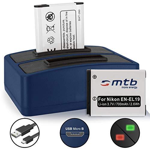 2 Baterías + Cargador Doble (USB) EN-EL19 para Nikon Coolpix S32, S33, S2900, S3700, S6500, S7000. / A100, A300, W100 + v. Lista!