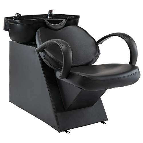vidaXL Silla Lavacabezas de Peluquería Reclinable Peluquera de Lavado de Cabeza Barberos Lavacabezas Belleza de Cuero Sintético Negro