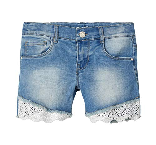 NAME IT Mädchen NKFSALLI DNMBANNI1340 Jeans-Shorts, Light Blue Denim, 128