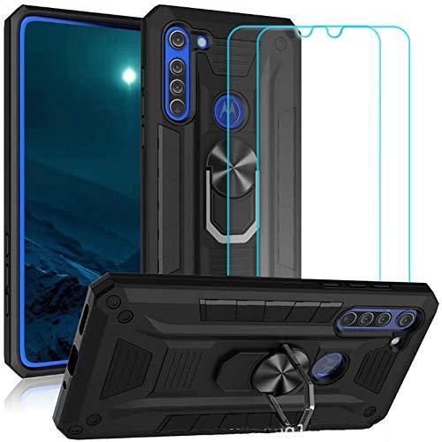 Ytaland para ZTE Blade A5 2020 Funda con 2 protectores de pantalla de vidrio templado. (3 en 1) a prueba de golpes, protector de teléfono con soporte de anillo (negro)