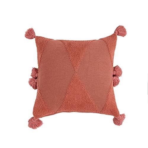 Ancoree Cubierta de Cojín de Color Sólido de Punto con Lindo Fleco de Borlas, Funda de Almohada Cuadrada con Cierre Oculto de Cremallera, 45x45cm (Red)
