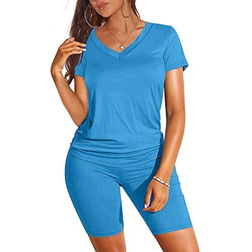 Binggong Sportanzug Damen Freizeitanzug Kurzarm V-Ausschnitt T-Shirt Sweatshirt +Short Tie Dye Drucken Outfits Zweiteiler Hausanzug Jogginganzug Streetwear Sportbekleidung