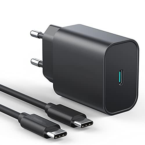 Cargador USB C de 25 W, fuente de alimentación USB C, cargador rápido, PD3.0, compatible con Samsung Galaxy S21 Ultra/S21/S20/S10, iPhone 12/12 mini/12 Pro/12 Pro Max/11, cable USB C de 2 m