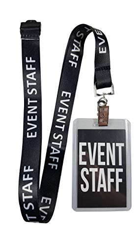 RockNerdy - Event Staff Lanyard w/Safety Breakaway, Plastic Card Holder & Card Pass - ID Holder for Backstage Concert Party Birthday Gaming - ID Badge Holder for Men Women Kids Crew (Black 1 Lanyard)