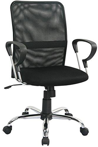 SixBros. Bürostuhl, Schreibtischstuhl zum Drehen, Drehstuhl für's Büro oder Home-Office, stufenlos höhenverstellbar, Netzstoff Mesh, schwarz H-8078F-2/1322