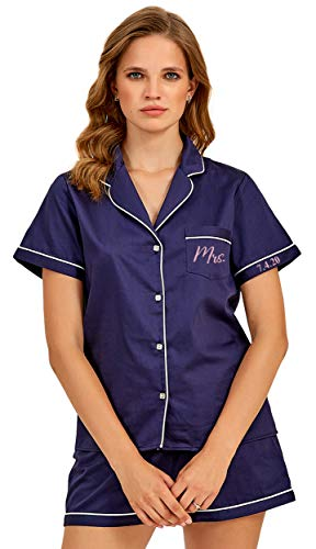 Custom Womens Cotton Pajamas Set Bachelorette Party Embroidered Monogrammed Personalized Short Sleeve Sleepwear Pjs at Amazon Women's Clothing store
