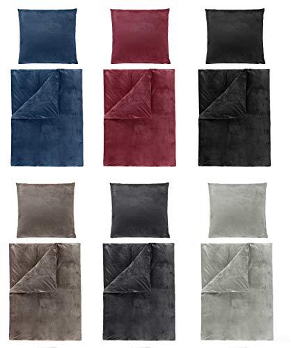 Winter Uni Cashmere Touch Bettwäsche, ähnlich Nicky, Teddy, Corals Fleece, in 6 Farben und verschiedenen Größen 4tlg Set 155x220 cm Blau
