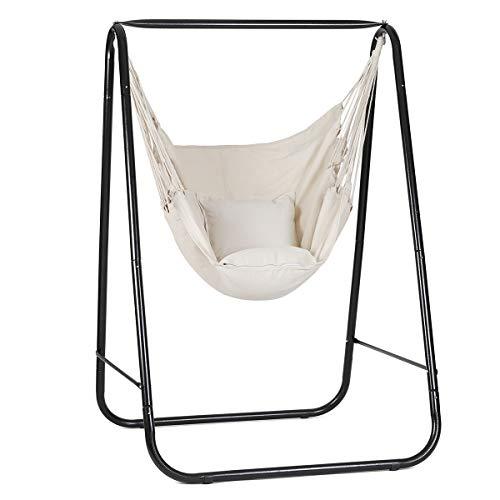 Sekey Hängesessel mit Gestell, Hängesesselgestell Hängestuhlgestell mit Hängestuhl 2 Kissen, 115x115x170 cm für den Innen- und Außenbereich, Belastbar bis 120 kg