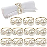 Pearl Napkin Rings Set of 12, Gold Serviette Buckle Holder for Easter, Family Gathering, Dinner Party, Wedding Decor, Napkin Ring for Christmas, Thanksgiving Day, Friends and Family (2 Gold Pearls)