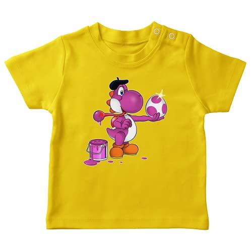 OKIWOKI Yoshi Lustiges Gelb Baby T-Shirt - Yoshi violett (Yoshi Parodie signiert Hochwertiges T-shirt in Größe 12 monate - Ref : 548)