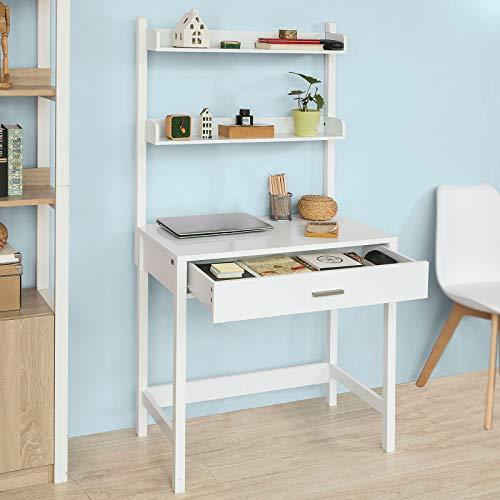 SoBuy Mesa de Escritorio, Mesa de Ordenador con un Cajón,FWT52-W ...
