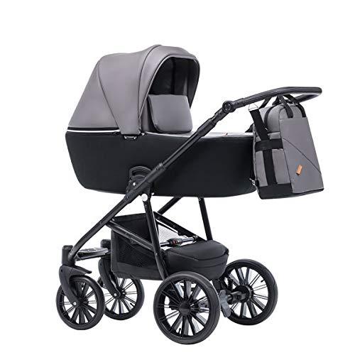 Krausman Kinderwagen 3 in 1 Verano Lux Grey Kombikinderwagen Babyschale Babywanne Sportwagen Design Made In Germany