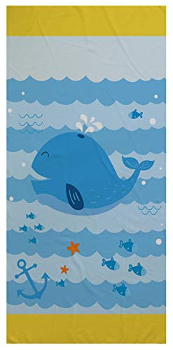 Stillshine. Toalla de Playa para Niños de Dibujos Animados Oceano Animal,Poliéster, Secado Rápido, Suave y Grande (Ballena,150 × 180 cm)
