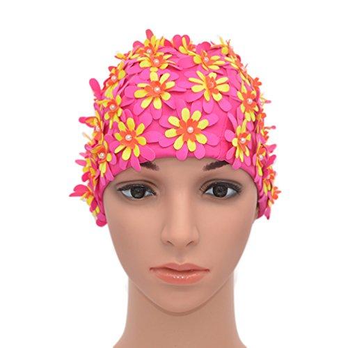 (Rose Red) - Medifier Swim cap Floral Petal Retro Style Bathing Caps for Women
