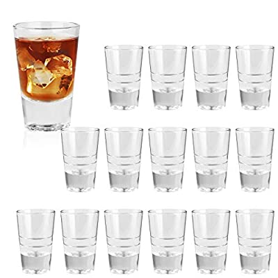 3 Ounce Heavy Base Shot Glass Set,QAPPDA Whisky Shot Glasses 3 oz,Mini Glass Cups For liqueur,Double Side Cordial Glasses,Tequila Cups Small Glass Shot Cups Set Of 16 KTY1510