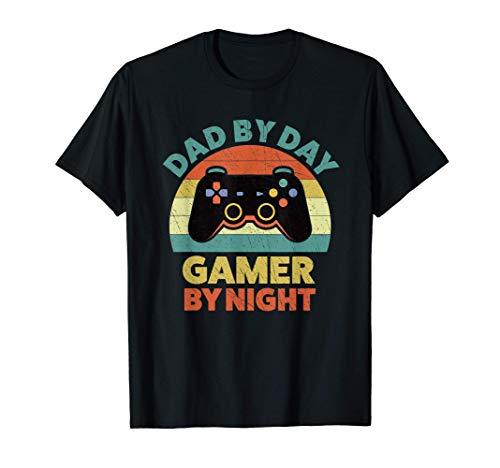 Hombre Videojuegos Papà de Día Jugador De Noche Regalo Gamer Camiseta