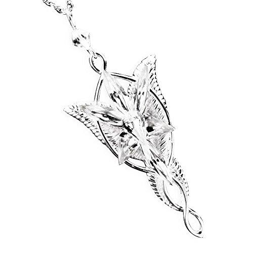 """Splendeur d'art - Collana lunga con ciondolo Stella del vespro di Arwen da 'Il Signore degli Anelli"""", placcata in argento"""