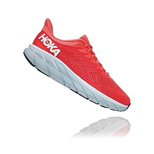 HOKA ONE ONE Zapatillas de correr Clifton 7 para mujer, rojo (blanco, coral, (Hot Coral/White)), 37 EU