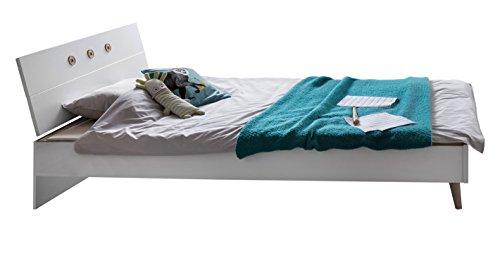 Wimex B01291 Bett, Holz, alpinweiß / absätze eiche sägerau nachbildung, 210 x 140 x 60 cm