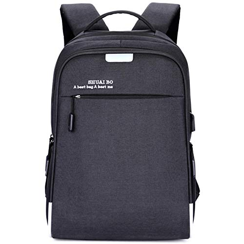 Large-Capacity Business Water-Repellent Backpack Male and Female College Students Business Computer Backpack Leisure USB Backpack 16 inches Black