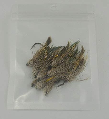Fishing Lures - 10PCS 6# Brown Color Deer Hair Gold Body Muddler Minnow Fly Bass Fishing Lure Steamers Trout Streamer Flies - (Color: 10Pcs in Bag)
