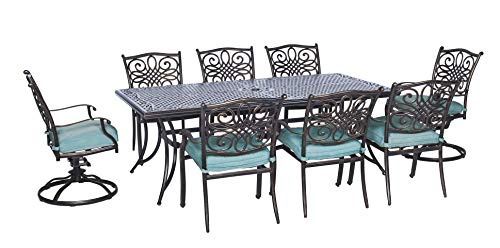 Hanover TRAD9PCSW2-BLU, 2 Swivel Rockers, and Large 42'x 80' Traditions 9-Piece Outdoor Patio Dining...
